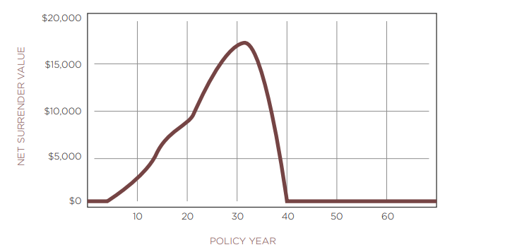 graph explaining relationship between net surrender value and life insurance policy year