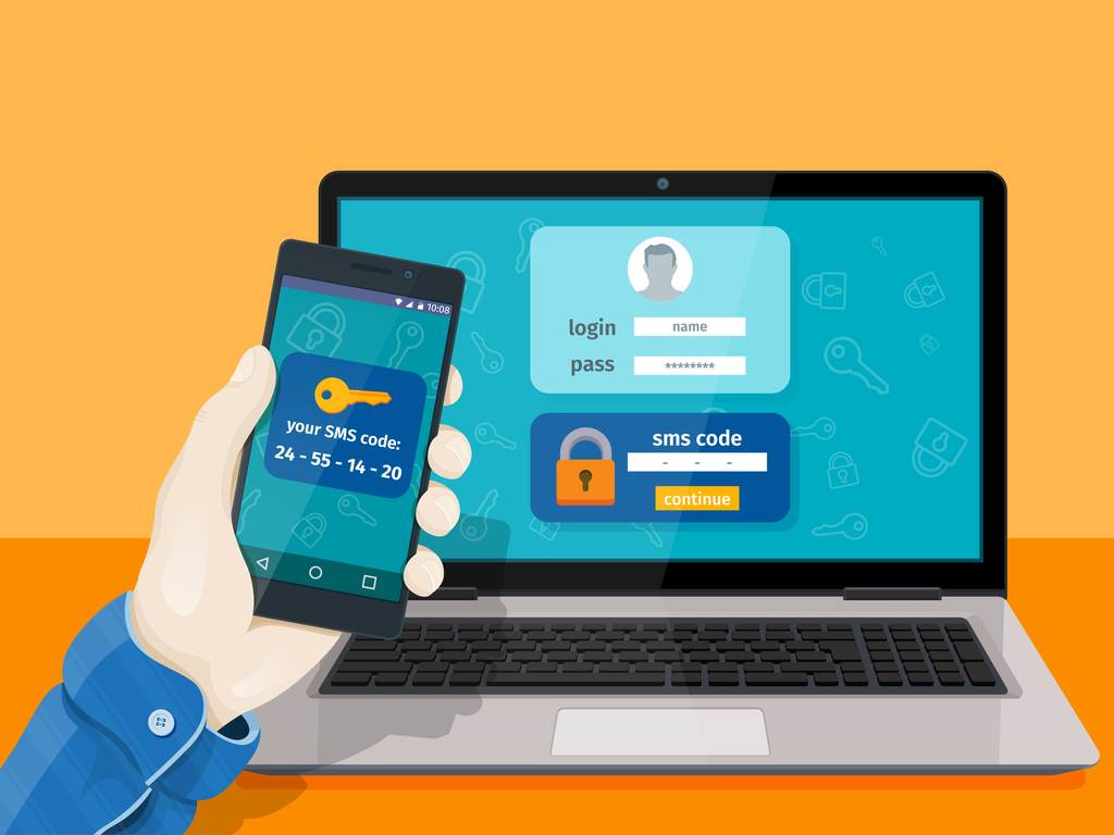 2 factor authentication image with mobile device and laptop