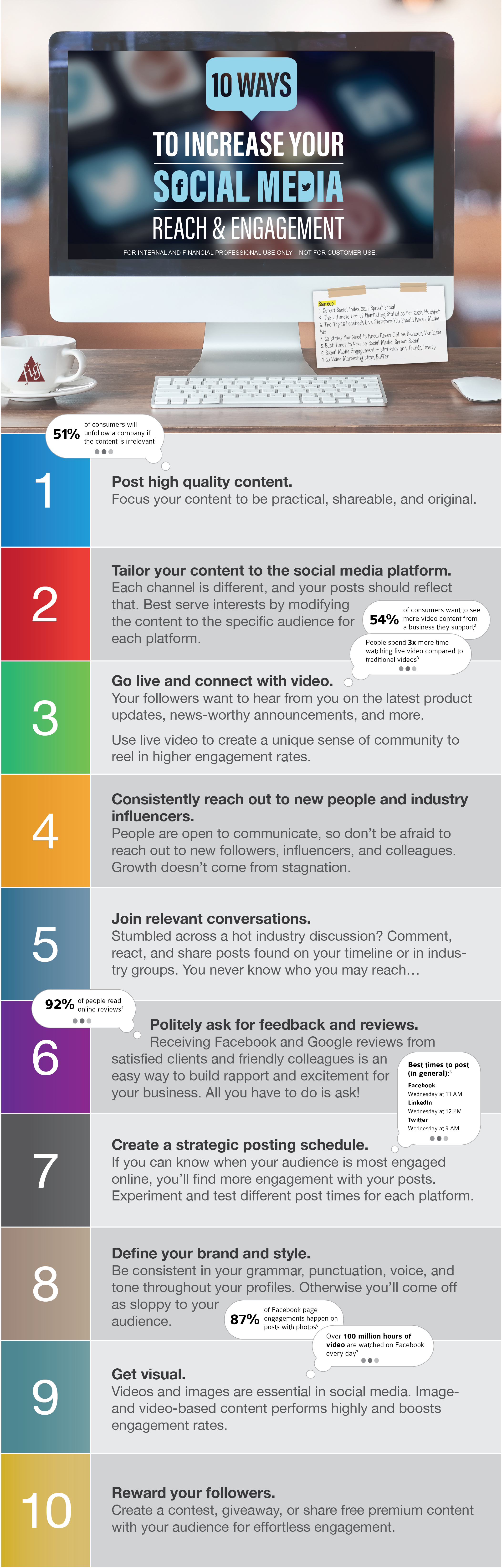 ten ways to increase your social media reach and engagement infographic