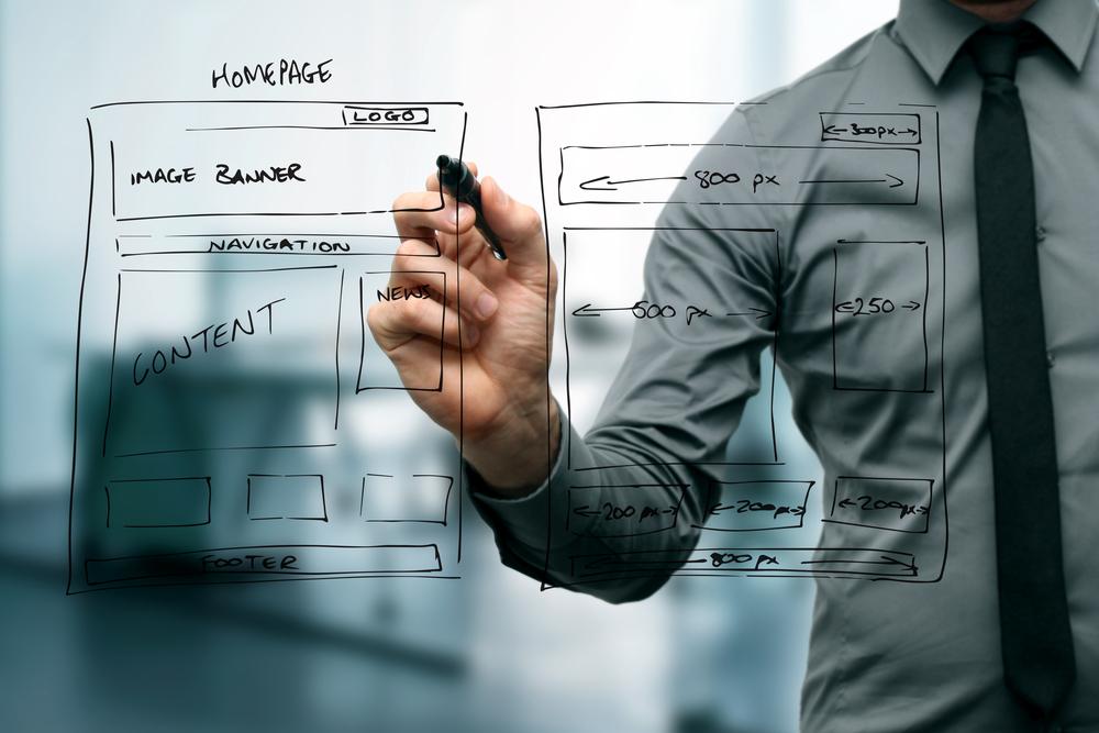 financial advisor website design template being drawn