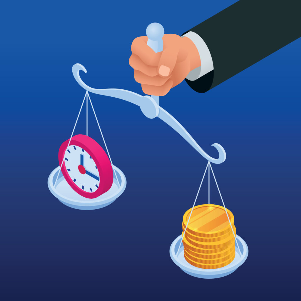 vector image of man holding scale balancing time and money for investing