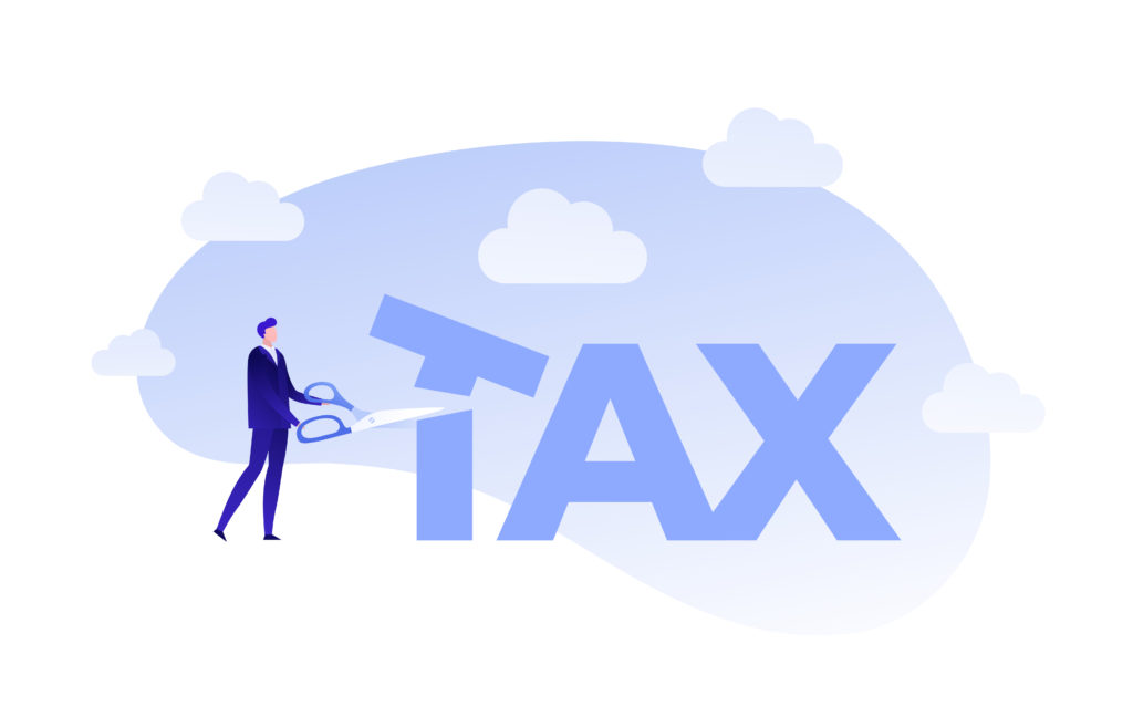 """vector image of man cutting the word """"tax"""""""