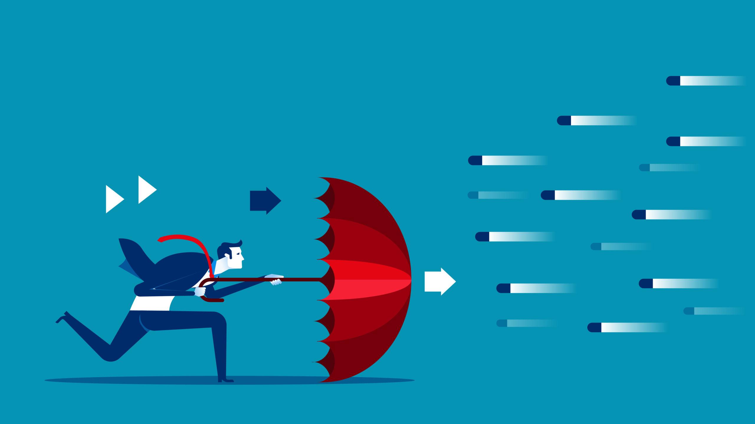 vector image of male client avoiding risk