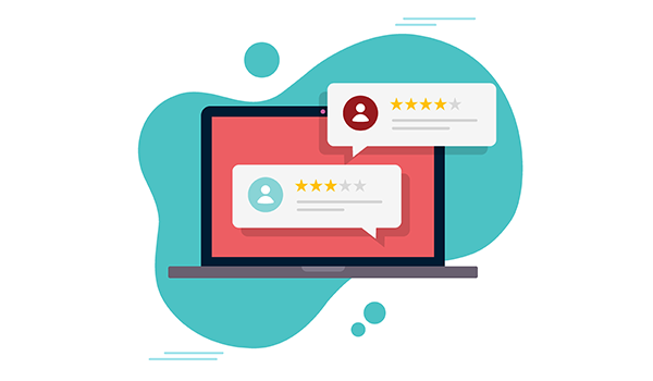 vector image of online client testimonials