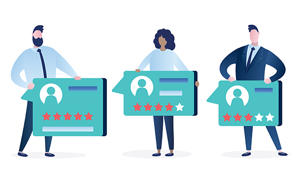 vector image of clients presenting their online testimonials